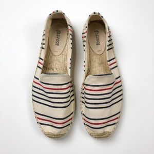 Soludos Espadrilles Red Cream Blue Stripe 10 A771